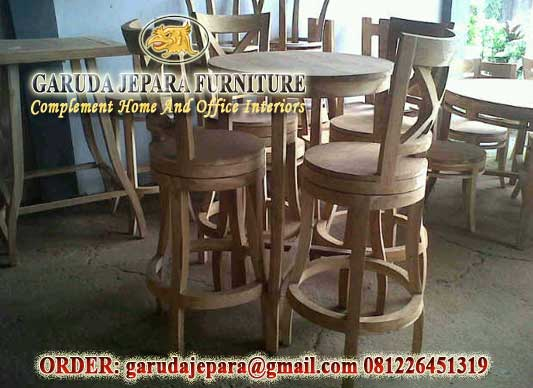 Kursi Bar Jati Jepara Model Silang