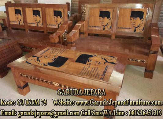 Kursi Tamu Minimalis Lukisan Ukir Soekarno
